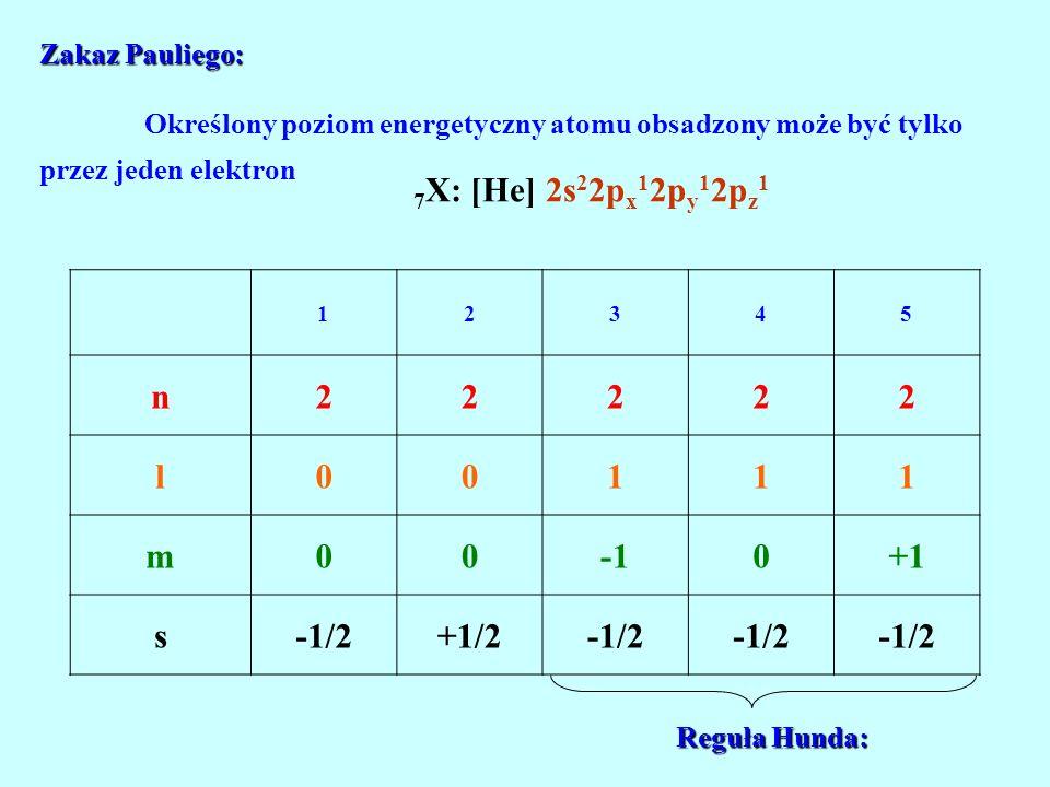 7X: [He] 2s22px12py12pz1 n l m -1 +1 s -1/2 +1/2
